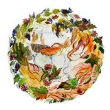 Beautiful young woman long red hair holds twigs with berries in her hands against autumn background. Concept of a girl as a autumn. Seasonal watercolor royalty free illustration