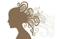 Beautiful young woman with long ringlet. Hand-drawn beautiful young woman Royalty Free Stock Image