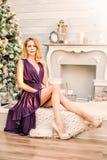 Christmas portrait of fashionable girl Stock Photography