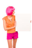 Beautiful young woman looking at blank white board. Stock Photos
