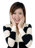 Beautiful young woman looking surprised Stock Images
