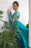Beautiful young woman in luxurious silk dress Stock Image