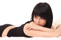 Beautiful young woman lying Stock Image