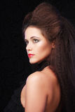 Beautiful young woman with magnificent hairdo. Close up Stock Photography