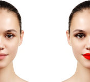 Beautiful young woman before and after make-up applying. Compari Stock Image