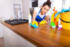 Beautiful young woman makes cleaning the house. Girl cleaning kitchen. Set. stock photo