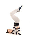 Beautiful young woman makes stretching Royalty Free Stock Photos