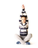 Beautiful young woman makes stretching Stock Photo