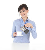 Beautiful young woman making coffee Stock Photography