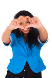 Beautiful young woman making a heart with hands Stock Photos