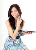 Beautiful young  woman making make-up Stock Photos
