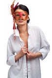 Beautiful young woman in mask Royalty Free Stock Photos