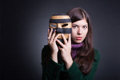 beautiful young woman with  mask. Stock Images