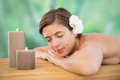 Beautiful young woman on massage tabl Royalty Free Stock Image