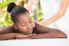 Beautiful young woman on massage table Royalty Free Stock Images