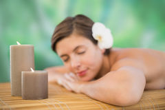 Beautiful young woman on massage table Royalty Free Stock Image
