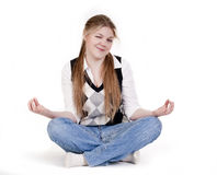 Beautiful Young Woman Meditating Royalty Free Stock Photos