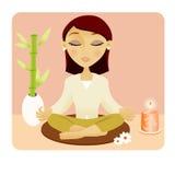 Beautiful young woman meditating. Beautiful young woman meditating with a candle Stock Photo