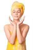 Beautiful young woman meditating stock image