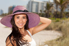 Beautiful Young Woman in Miami Beach Stock Image