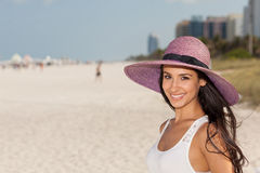 Beautiful Young Woman in Miami Beach Royalty Free Stock Photo