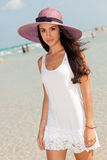 Beautiful Young Woman in Miami Beach Royalty Free Stock Images