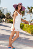 Beautiful Young Woman in Miami Beach Stock Images