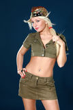 Beautiful young woman in military clothes Royalty Free Stock Images