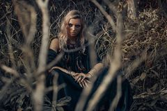 Beautiful young woman model portrait in forest. witchcraft conce Stock Photo