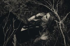 Beautiful young woman model portrait in forest. witchcraft conce Royalty Free Stock Images