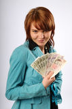 The beautiful young woman with money Stock Photography
