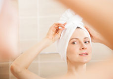 Beautiful young woman after morning shower Stock Photos