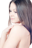Beautiful young woman & Naked shoulder isolated Royalty Free Stock Photo