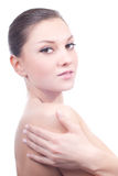 Beautiful Young Woman with Naked Shoulder Spa Royalty Free Stock Photos