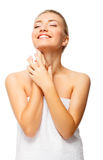 Beautiful young woman with naked shoulders smiles Royalty Free Stock Images