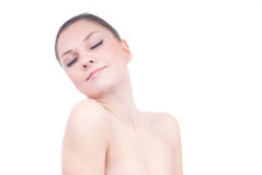 Beautiful Young Woman with Naked Shoulders Spa Royalty Free Stock Photography
