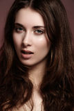 Beautiful young woman with natural make-up, clean royalty free stock photography