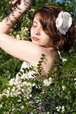 Beautiful young woman on nature Stock Images