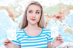 Beautiful young woman near map Royalty Free Stock Photography