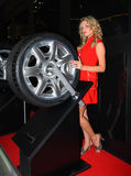 Beautiful young woman near a motor-car wheel. Stock Photo