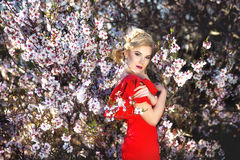 Beautiful young woman in nice red dress posing on flowering trees. Fashion photo, nice hair, stock images