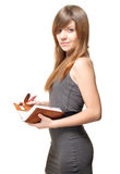 Beautiful young woman with notebook Royalty Free Stock Images