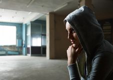 Beautiful young woman in old building Stock Images