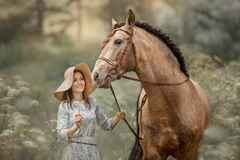 Free Beautiful  Young Woman On Spanish Buckskin Horse In Rue Field Stock Image - 194647961