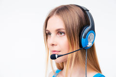 Beautiful young woman operator in headset Royalty Free Stock Photos