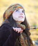 Beautiful young woman outdoor in autumn Stock Photo