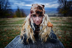 Beautiful young woman outdoor on autumn Stock Image