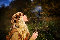 Beautiful young woman outdoor on autumn day Stock Photo