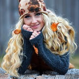Beautiful young woman outdoor on autumn day Stock Images