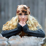 Beautiful young woman outdoor on autumn day Royalty Free Stock Photography